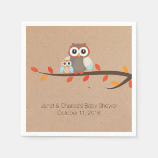 Cute Rustic Owls Baby Shower Paper Napkins
