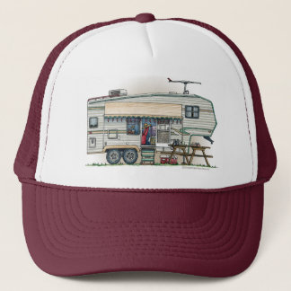 Cute RV Vintage Fifth Wheel Camper Travel Trailer Trucker Hat