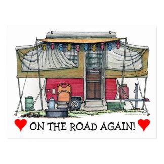 Cute RV Vintage Popup Camper Travel Trailer Postcard