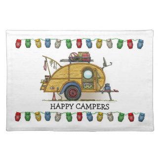 Cute RV Vintage Teardrop  Camper Travel Trailer Placemat