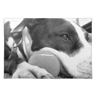 cute sad looking pitbull dog black white with ball placemat