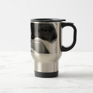 cute sad looking pitbull dog black white with ball stainless steel travel mug