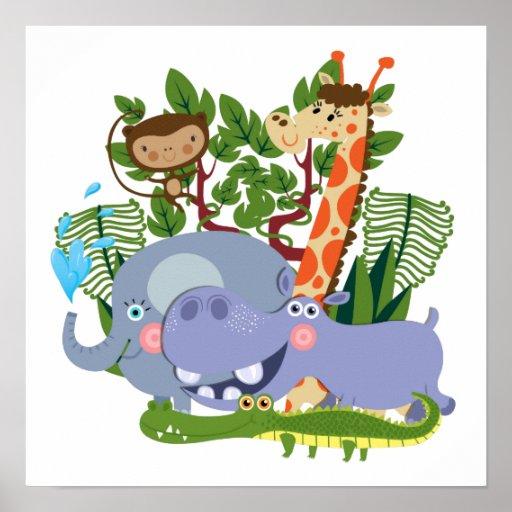 Cute Safari Animals Print