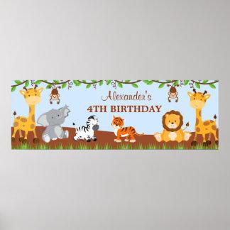 Cute Safari Jungle Animals Birthday Party Banner Poster