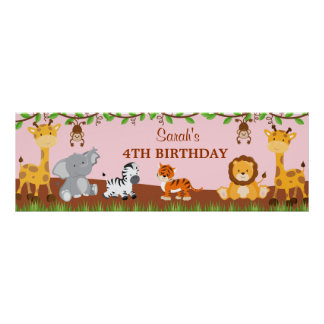 Cute Safari Jungle Animals Birthday Party Banner Posters