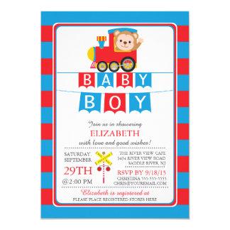 "Cute Safari Monkey Boy Baby Shower Invitation 5"" X 7"" Invitation Card"