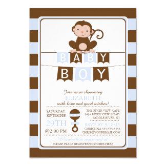 "Cute Safari Monkey Boys Baby Shower Invitation 5"" X 7"" Invitation Card"