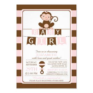 "Cute Safari Monkey Girl Baby Shower Invitation 5"" X 7"" Invitation Card"