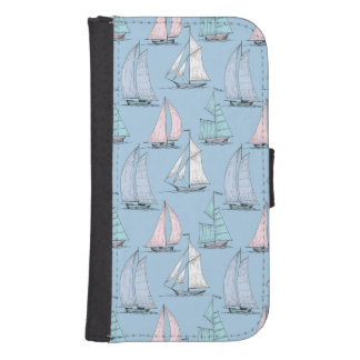 Cute Sailboat Pattern 1 Samsung S4 Wallet Case