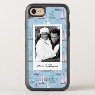 Cute Sailboat Pattern | Your Photo & Name OtterBox Symmetry iPhone 8/7 Case