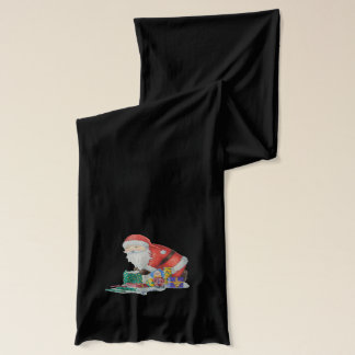Cute santa and toys wrapping Christmas gifts scarf