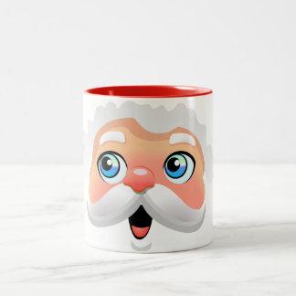 Cute Santa Claus Cartoon Two-Tone Coffee Mug