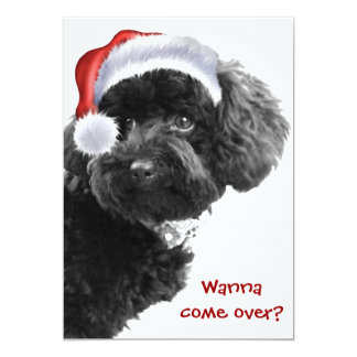 Cute Santa Dog l Christmas Party Custom Invites