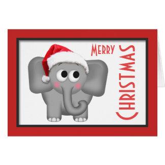 """Cute Santa Hat Elephant """"Merry Christmas"""" Card"""