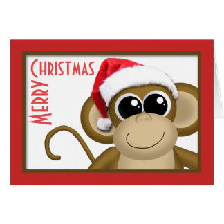 "Cute Santa Hat Monkey ""Merry Christmas"" Card"