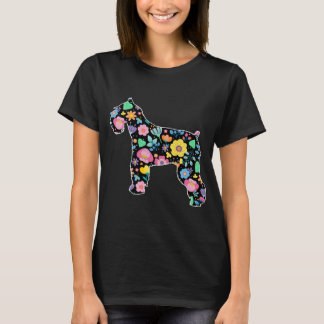 Cute  Schnauzer floral design T-Shirt