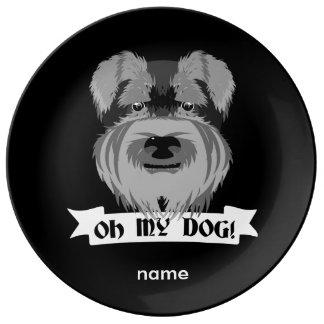 Cute Schnauzer Oh My Dog Plate