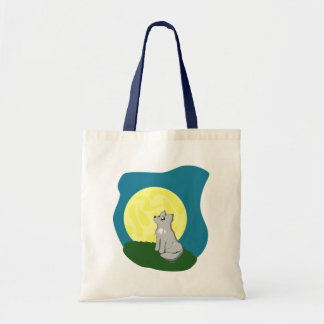 Cute Scruffy Wolf with Moon Tote Bag