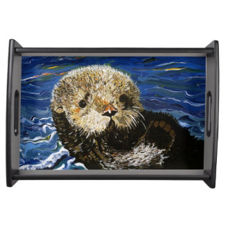 Cute Sea Otter Serving Tray