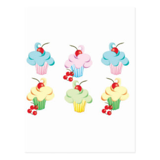 Cute set of cupcakes post cards