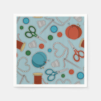Cute Sewing Theme Napkins Blue Disposable Serviette