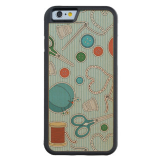 Cute Sewing Themed Pattern Blue Carved Maple iPhone 6 Bumper Case