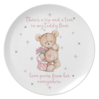 Cute, shabby, watercolor Teddy Bear Plate