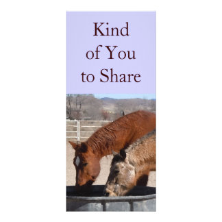 Cute Sharing is Fun Horse Western Bookmarks Full Color Rack Card