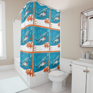 Cute Shark Ocean Aquatic Shower Curtain