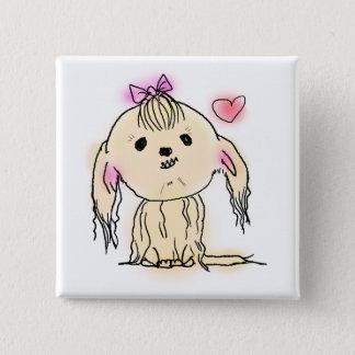 Cute Shih Tzu Dog Doodle Illustration 15 Cm Square Badge