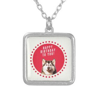 Cute Siberian Husky Dog Happy Birthday Silver Plated Necklace