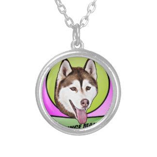 Cute Siberian husky dog Silver Plated Necklace