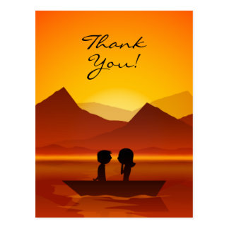 Cute Silhouette Couple Boating Mountain Thank You Postcard