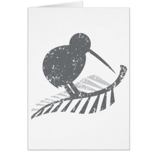 cute silver kiwi bird and silver fern distressed card
