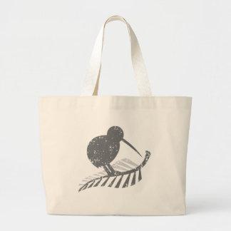 cute silver kiwi bird and silver fern distressed jumbo tote bag
