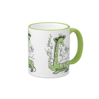 Cute Sitting Giraffe Green Coffee Mugs