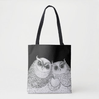 Cute Sketched Owl Couple on Black Tote Bag
