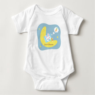Cute Sleeping Bunny on Moon For Baby Boy Baby Bodysuit