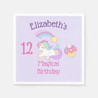 Cute Sleeping Unicorn with Colorful Shooting Star Paper Napkin