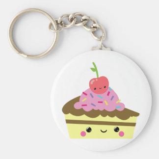Cute Slice of Kawaii Ice Cream Cake Key Ring
