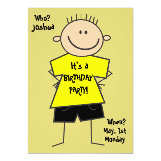Cute Smiley Boy Stick Figure Birthday Invitation