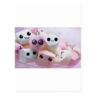 cute smiley face marshmallows postcards