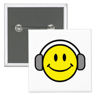 cute smiley face with headphones 15 cm square badge