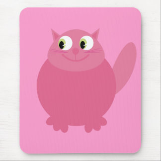 Cute Smiling Cartoon Cat Pink Charity Mouse Pad