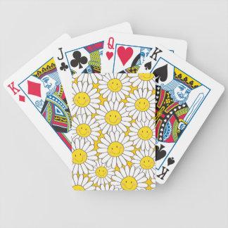 Cute Smiling White Daisy Pattern Poker Deck