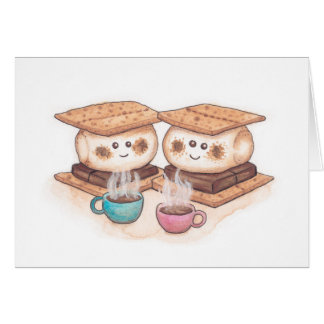 Cute S'mores Couple Coffee Date Greeting Card