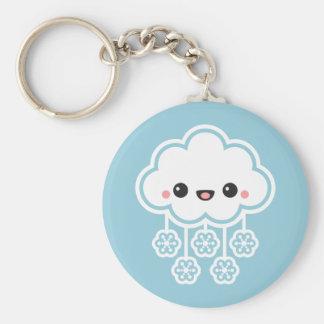 Cute Snow Cloud Basic Round Button Key Ring