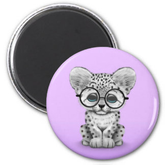 Cute Snow Leopard Cub Wearing Glasses on Purple 6 Cm Round Magnet