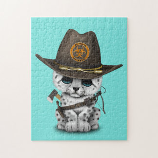 Cute Snow Leopard Cub Zombie Hunter Jigsaw Puzzle