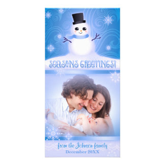 "Cute Snowman Blue ""Seasons Greetings"" Holiday Picture Card"